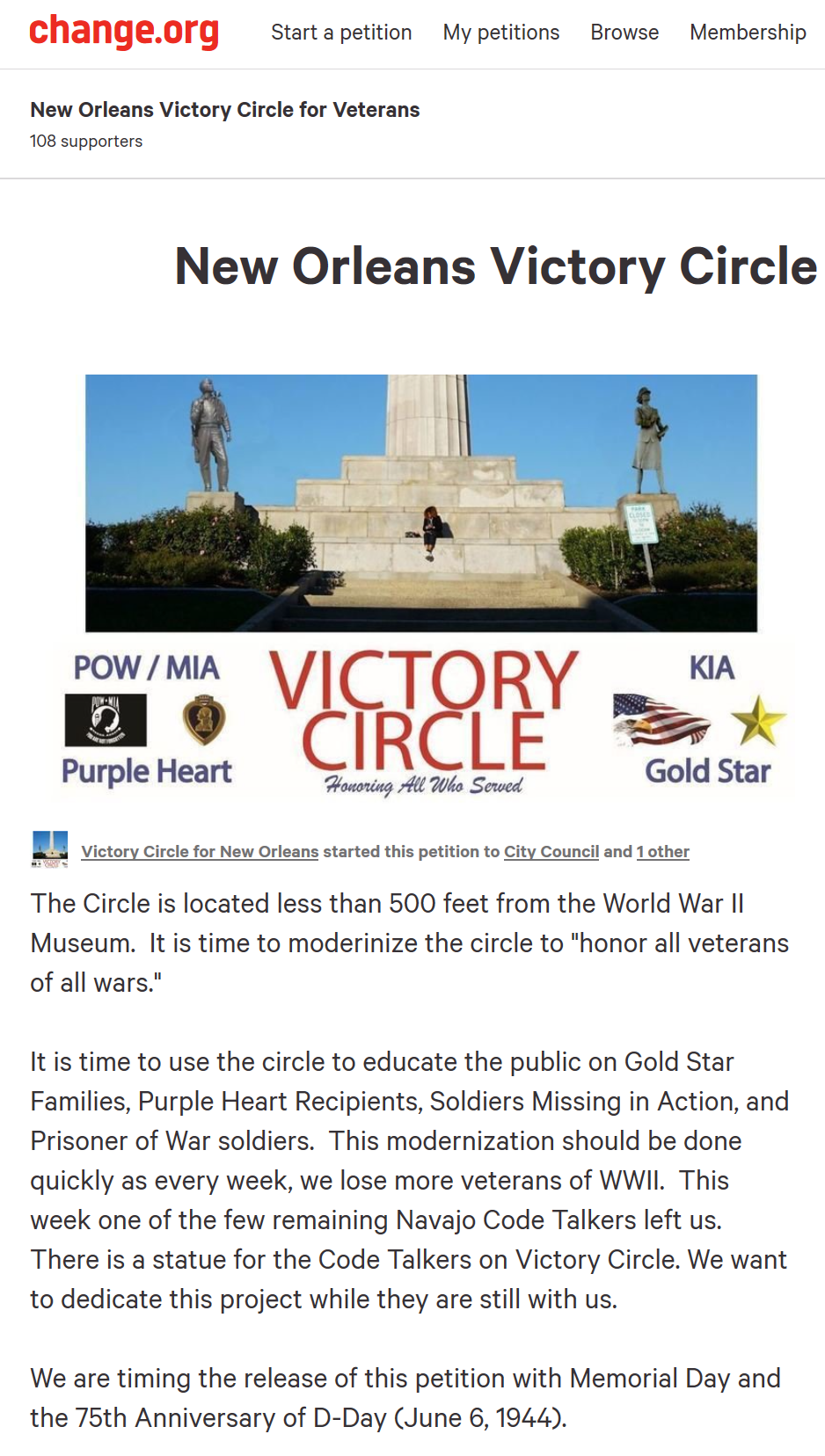 Please Share the Victory Circle Petition